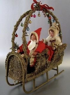 Antique Santa Mrs Claus Loofah Sleigh Wheels C 1915 Vintage Father Christmas German Christmas, Old Fashioned Christmas, Christmas Past, Victorian Christmas, Father Christmas, Christmas Items, Country Christmas, All Things Christmas, Christmas Holidays