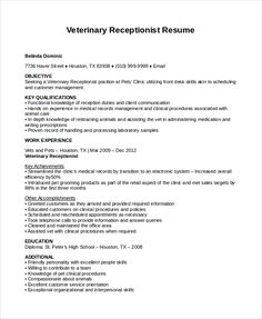 Resume Sample Receptionist or Medical