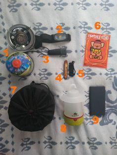 1-Kamp ocağı 2-Kafa lambası 3-El feneri 4-Çatal kaşıklı çakı 5-Ufak bıçak 6-Vücut sobası(Kairo marka öneririm. Epey etkili)  7-Kamp tencere takımı 8-Asmalı fener 9-Powerbank