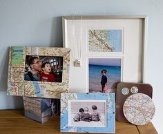 maps made into frames of the places where the pics are taken!! I heart maps!!!