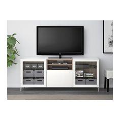 BESTÅ TV bench - walnut effect light gray/Selsviken high gloss/white clear glass, drawer runner, push-open - IKEA
