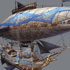 Luftschiff von hyunbin An auf ArtStation. Sub-/Airship - Flugzeug Steampunk Ship, Arte Steampunk, Steampunk Crafts, Steampunk Design, Fantasy Places, Fantasy World, Flying Ship, Wow Art, Science Fiction Art