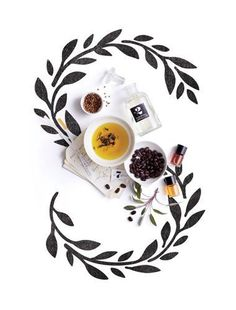 artistic background providing focal point, irrelevant items like tea and coffee beans