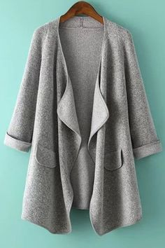 Light Grey Plain Pockets Irregular Turndown Collar Knit Coat