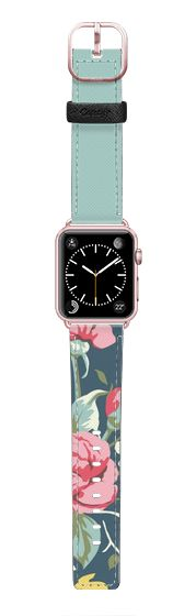 Casetify Apple Watch Band (42mm) Saffiano Leather Watch Band - Floral and Soft Ocean Blue by Jande Laulu