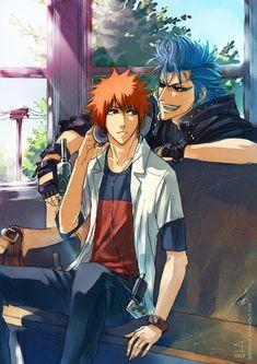 ArtTrade: Grimmjow and Ichigo by AnHellica.deviantart.com