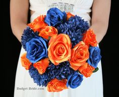 Blue and Orange Wedding Flowers.  With navy blue mums, royal blue roses and orange roses.  Complete Wedding Flowers Packages starting at $100