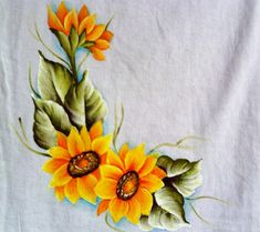 Saree Painting, Tole Painting, Fabric Painting, Hand Painted Dress, Painted Clothes, Flower Crafts, Flower Art, Picture Frame Crafts, Fabric Paint Designs