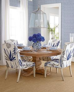 large-scale botanical textiles - Allison Botanical Chair & Taylor Pedestal Table by NM EXCLUSIVE at Horchow.