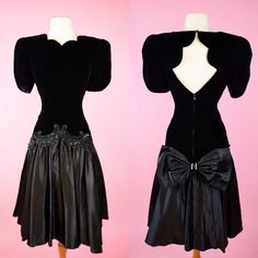 Vintage, 80s Prom, Black Velvet, Party Dress // 1980s, Special Occasion, Cocktail Dress, Women Size Small