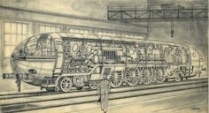 Sketch of a German plan for a nuclear train engine