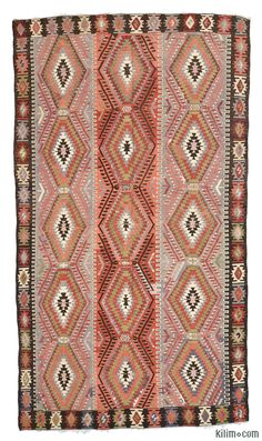 Vintage Esme Kilim Rug around 60 years old and in very good condition. Esme is a very famous weaving village in Usak.