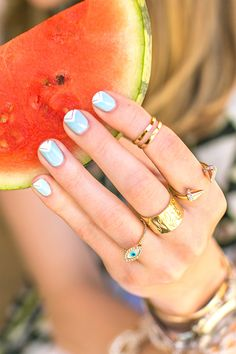 Summer Nail Design: Sky blue with a touch of gold.