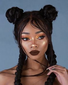 Pretty girl with protective braids and bun hairstyle. Click the link to see more curlspiration www.uk share with your friends # Braids for girls link Beauty Makeup, Hair Makeup, Hair Beauty, Protective Braids, Curly Hair Styles, Natural Hair Styles, Hair Reference, How To Draw Hair, Bun Hairstyles