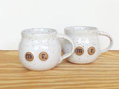 Stoneware Ceramic Cup Set in Glossy White Glaze by dorothydomingo