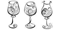 Wine glass with grapevines Vector wine design elements Illustration , Wine Tattoo, Bottle Tattoo, Wood Burning Patterns, Wood Burning Art, Art Du Vin, Vine Drawing, Gravure Laser, Clip Art, Wine Design