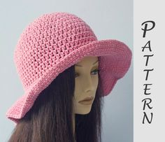 Wide Brim Sun Hat Crochet Pattern,  Hat Pattern,  Easy Pattern, Instant Download, Summer Hat PDF Pattern by beadedwire on Etsy https://www.etsy.com/au/listing/240380104/wide-brim-sun-hat-crochet-pattern-hat