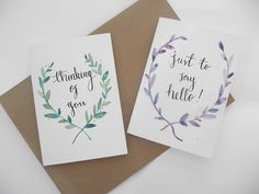 Watercolour and ink cards. Encouragements. 5x7. Floral wreath.