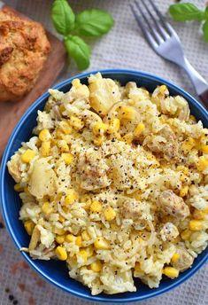 Sałatka hawajska - z ryżem i kurczakiem Polish Recipes, Macaroni And Cheese, Cauliflower, Side Dishes, Curry, Food And Drink, Health Fitness, Chicken, Vegetables