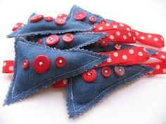 oranment heaven! cute to make some out of old pairs of jeans and buttons.