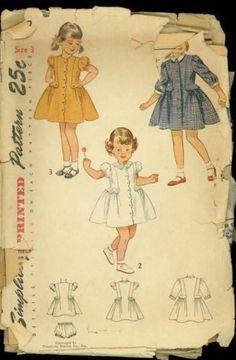 1940's Simplicity 3082 Pattern Toddler Girls Nostalgic Dress size 3