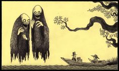 John Kenn makes images on yellow sticky notes with office pens-- amazing little gems should be a book!