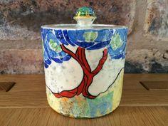 Fabulous Rare 1932 Clarice Cliff Patina Tree Blue Art Deco Drum Jar Honey Pot #jar