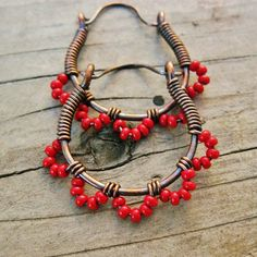 Hey, I found this really awesome Etsy listing at https://www.etsy.com/listing/83610592/red-ruffle-bottom-hoops-wire-wrapped