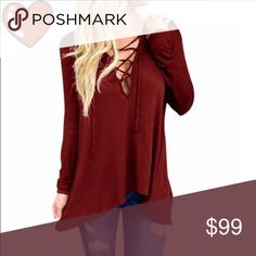 Long sleeve tunic restocked Hooded long sleeve tunic with lace up detail, available for purchase. boutique Tops Tunics