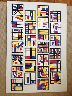 Class project for art auction (Mondrian inspired).