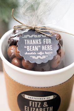 Planning a brunch wedding? Chocolate covered coffee beans are a fun wedding favor!