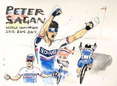 Peter Sagan ako trojnásobný majster sveta v cyklistike na akvareli od Sama Smitha. Cycling, Champion, Comic Books, Baseball Cards, Comics, Country, Sports, Hs Sports, Drawing Cartoons