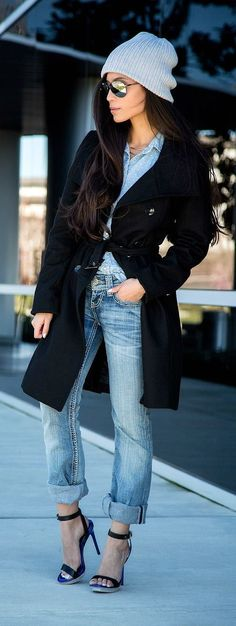To create an outfit for lunch with friends at the weekend go for a black coat and baby blue boyfriend jeans. Black leather heeled sandals will bring a classic aesthetic to the ensemble.   Shop this look on Lookastic: https://lookastic.com/women/looks/coat-dress-shirt-boyfriend-jeans/17722   — Grey Beanie  — Light Blue Chambray Dress Shirt  — Black Coat  — Light Blue Boyfriend Jeans  — Black Leather Heeled Sandals