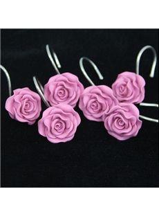 Romantic Sweet Pink Rose 12-piece Shower Curtain Hooks #shower #bathroom #shower curtain