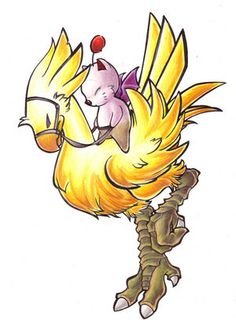 *0* passiooon Chocobo and Moogle. Chocobo's are quite possibly my favorite thing about the Final Fantasy world.