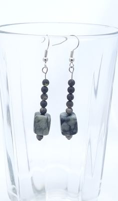 Handmade Gifts of Jewelry: Black serpentine, yellow turquoise: One of a kind