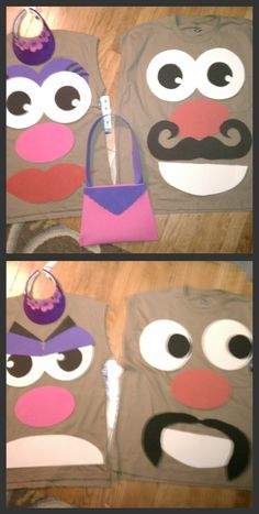 Just finished make our halloween costumes!  Mr. and Mrs. Potato Head with velcro pieces and a pouch on the back for storage.