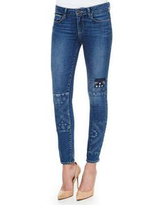 Verdugo+Skinny+Patchwork+Jeans,+Ryder+Piecing+by+Paige+Denim+at+Neiman+Marcus.