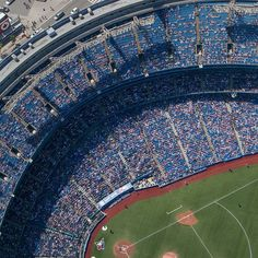 Batter up!... Looking down on a Blue Jays baseball game from one of the tallest towers in the world - the CN Tower in the centre of Toronto.  Best seats in the house.  #toronto  #baseball