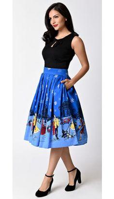 Banned_1950s_Blue_Cotton_Romance_Lives_High_Waist_Circle_Skirt.jpg (264×460)