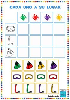 Cada uno a su lugar. Objetos de buceo. - Ficha interactiva 1st Grade Activities, Activities For Kids, Montessori Toddler, English Class, Occupational Therapy, Drawing For Kids, Kids Education, Grade 1, Homeschool