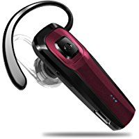 Toorun M26 Bluetooth Headset V4.1 Bluetooth Earpiece with Voice Prompt and Noise Cancelling Mic for iPhone 7 Plus 6s 5s iPad Samsung Galaxy S7 Edge S6 S5 Note5 LG G5 V10 Motorola HTC Android-Red