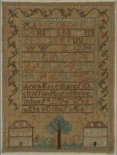 American Sampler Embroidered by Anna Bateman in 1807 @ Museum of Fine Arts in Boston ~♥~