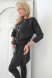 JENNY Linen Dress, BLACK