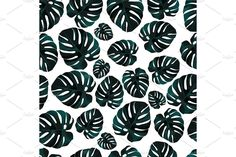 Seamless background pattern of palm leaves by Amirey ART on @creativemarket