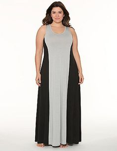 94a1b716d03 Dramatic colorblocking and a lace racer back add serious fashion cred to  our decadent Tru to You sleep maxi.  LaneBryant  Cacique