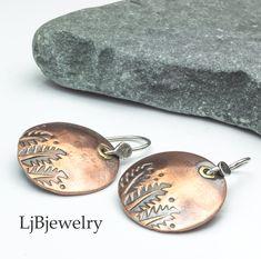 Copper Dangle Earrings For Women, Leaf Earrings, Mixed Metal Earrings, Handmade Artisan Earrings, Nature Jewelry, LjBjewelry Copper Earrings, Copper Jewelry, Stone Jewelry, Women's Earrings, Earthy Style, Seashell Jewelry, Shell Pendant, Mixed Metals, Artisan Jewelry