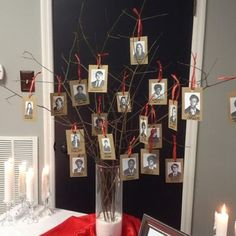 Ideas to Honor Deceased High School Reunion Decorations Class School Reunion Decorations, Reunion Centerpieces, High School Class Reunion, 10 Year Reunion, Class Reunion Ideas, Class Tree, Memory Tree, Picture Tree, Making Ideas