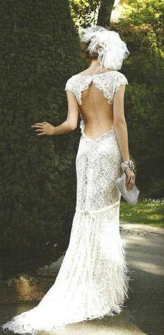 Pizzo abito da sposa backless.