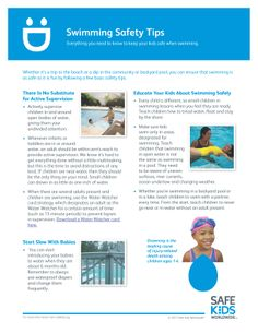 Drowning is the leading cause of death for kids under the age of 5. Check out these swimming safety tips.